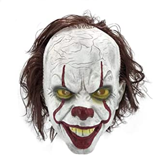Adult Horror Clown Joker Stephen Latex Costume Mask Scary Halloween Cosplay Party Decoration Props White