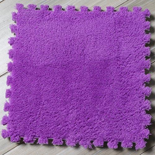 HUAHOO Soft Tiles Foam Interlocking Floor Mats Puzzle Play Mats Splicing Carpet Plush Carpet Area Rug for Children's and Baby Playmat Play Room Basement Square Floor Tiles (Purple,10 SQFT - 10 Tiles)