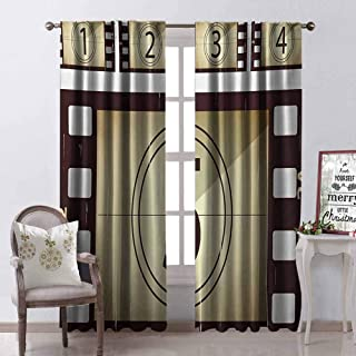 GloriaJohnson Movie Theater Heat Insulation Curtain Scratched Film Strips Vintage Movie Frame Pattern Grunge Illustration for Living Room or Bedroom W100 x L84 Inch Beige Brown White