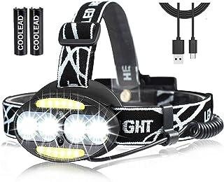 Linterna frontal LED Recargable de Trabajo, con Sensor, Sólo 130g, 8000 Lúmenes, 7 Modos de Luz con Flash, Ligera Elástic...
