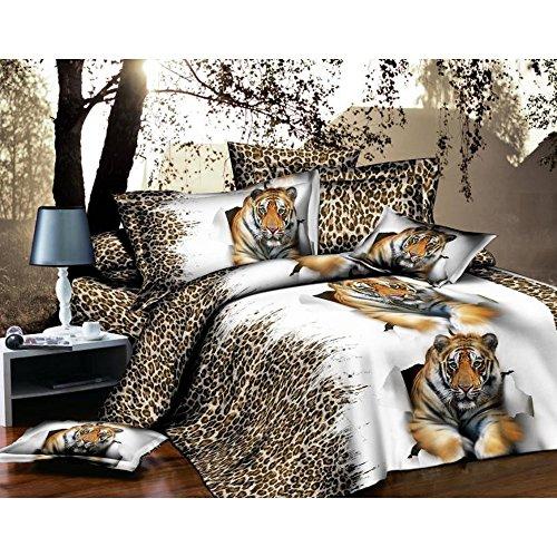 Jessie&Eleven Juego de ropa de cama de algodón cepillado 3D, tamaño king, 4 piezas, 1 sábana encimera, 1 funda de edredón y 2 fundas de almohada J1