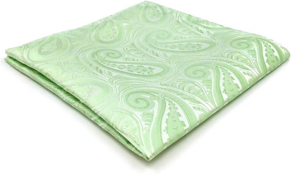 Tomeco EH6 Light Green Silk Mens Pocket Square Groom Accessory Fashion Handkerchief Classic Hanky