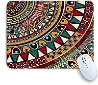 ECOMAOMI 可愛いマウスパッド 民族の部族の色とアフリカの民俗部族のラウンドパターンアステカのアートワークプリント 滑り止めゴムバッキングマウスパッドノートブックコンピュータマウスマット