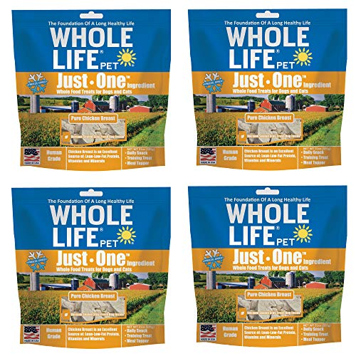 Whole Life Pet USA Sourced and Produced Human Grade Freeze Dried Chicken Breast Dog and Cat Treat Value Pack, Protein Rich for Training, Picky Eaters, Digestion, Weight Control, 4 Bags of 21 Ounce