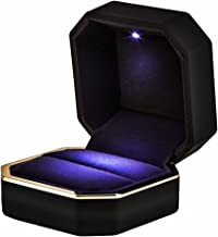 AVESON Luxury Ring Box, Square Velvet Wedding Ring Case Jewelry Gift Box with LED Light for Proposal Engagement Wedding, Black