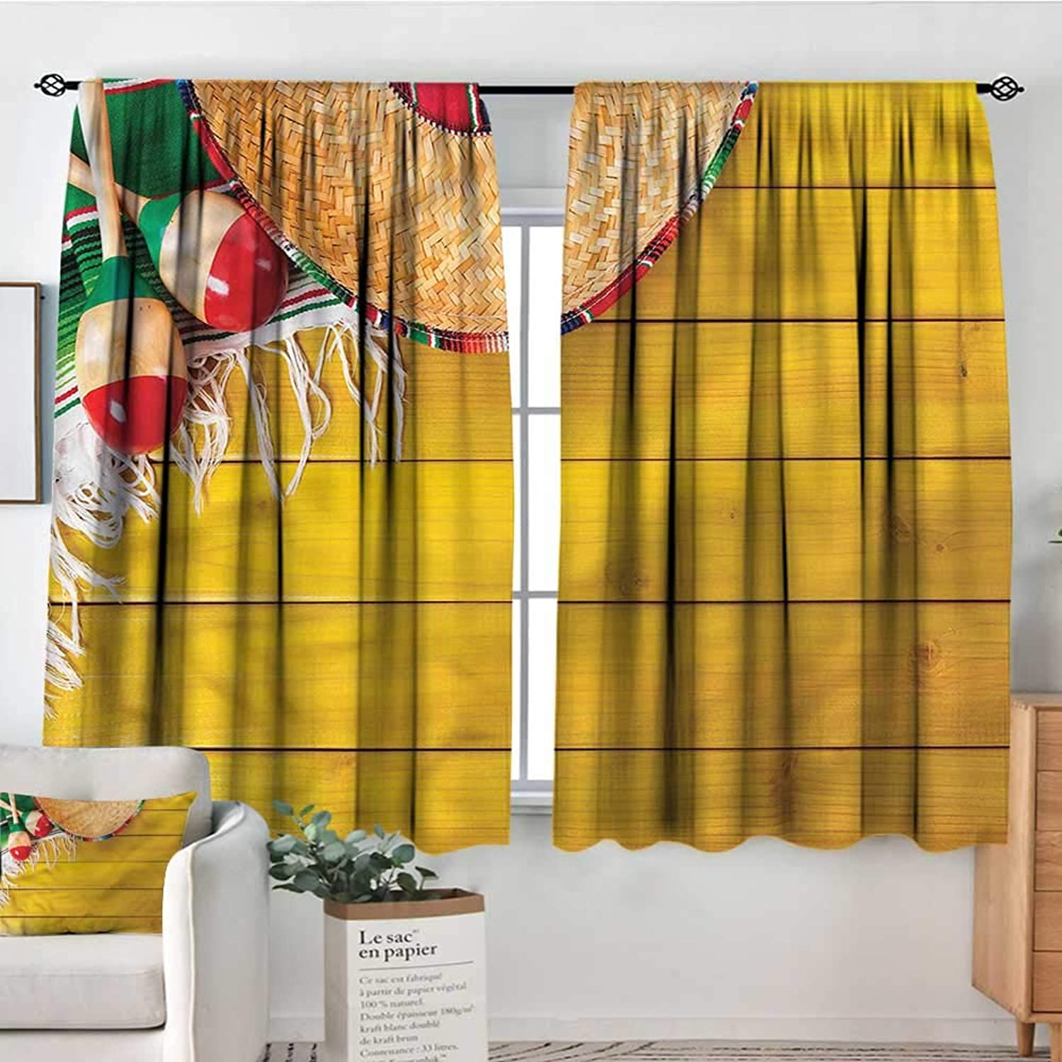 Mexican,Boy's Iving Room Curtain Ancient Ceremonial Elements 42 X72  Indo Treatments for Short Indo