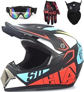 Motocross Helm Kinder Integralhelm MTB BMX ATV Helm Motorradhelm mit Schutzbrille Handschuhe Maske Brille