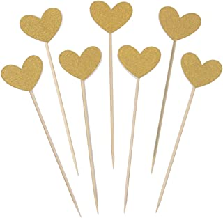 WARMBUY 50 Pack Double Sided Gold Glitter Cupcake Toppers Attached with Sticks for Baby Bridal Shower Birthday Party and Wedding (Heart)