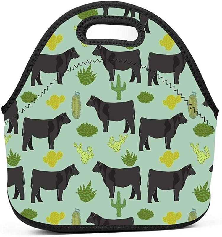 Cattle Breed Cactus Farm Cow Neoprene Lunch Bags Insulated School Lunch Bags Reuable Lunch Tote Bag Lunch Box Lunch Bags For Men For Women For Kids