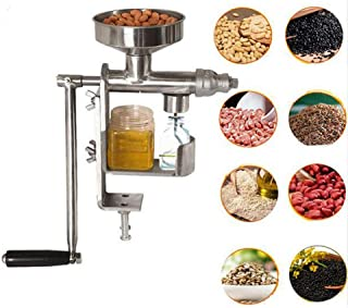 Enshey Hand Crank Oil Press Machine Stainless Steel Household Oil Extractor Manual Oil Expeller Suitable for Peanut, Sunflower Seed, Tea Seed, Sesame Seed, Walnut, Olive, Coconut Oil, Flax Seed, etc.