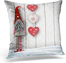 Emvency Throw Pillow Covers Case Nisser in Norway and Denmark Tomtar Sweden Tonttu Finnish Scandinavian Folklore Elves Nordic Christmas Decorative Pillowcase Cushion Cover 18 x 18 Inches