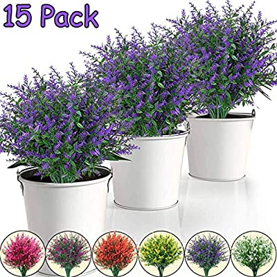 15 Pack Artificial Lavender Flowers Plants Lifelike UV Resistant Fake Shrubs Greenery Bushes Bouquet to Brighten up Your Home Kitchen Garden Indoor Outdoor Decor (Purple)