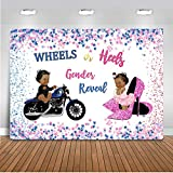 Avezano Wheels or Heels Gender Reveal Backdrop Boy or Girl Baby Shower Party Decoration High Heels or Hot Wheels Gender Surprise Vinyl Backdrops (7x5ft)