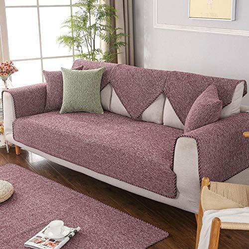 YUTJK Für Haustiere Couch Sofa Überwürfe, Anti-rutsch Übergroßen Spitze Couch Sofa Überwürfe Couch-Shield, Sofaschoner, Baumwoll Leinen gewebte Sofabezug, Für Ledersofas, rot
