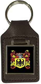 Wingate Family Crest Surname Coat Of Arms Brown Leather Keyring Engraved