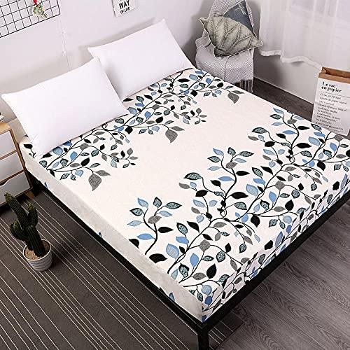 DSman Protector de colchón de Rizo algodón y Transpirable Impresión de sábanas a Prueba de Agua y a Prueba de polvo-25_120cmX200cmX30cm