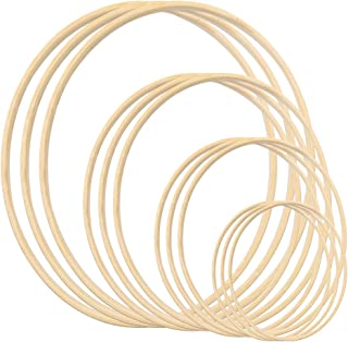 Gukasxi 12-pack 4 storlekar (15 cm/20 cm/25 cm/30 cm) kransringar trä bambu blommig ring set stor makramé hantverk ringar ...