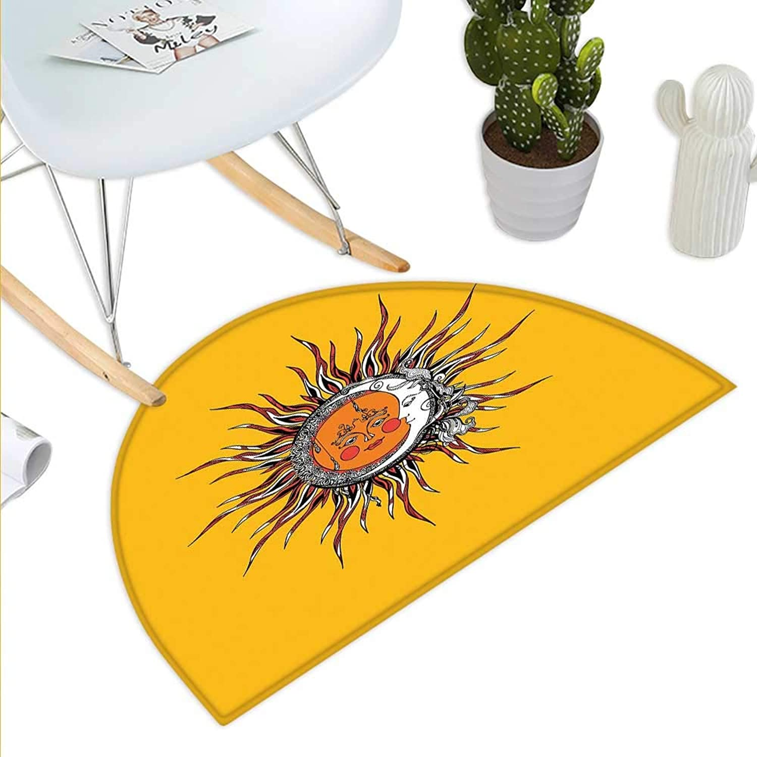 Sun Semicircle Doormat Abstract Celestial Patterns with Anthropomorphic Faces Leaves and Swirled Stripes Sky Halfmoon doormats H 43.3  xD 64.9  Multicolor