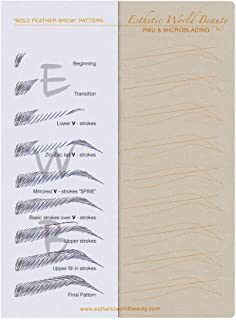 Microblading No Ink Practice Skin / 5 PCS/Free Eyebrow Guide/Pattern ''Bold Feather''