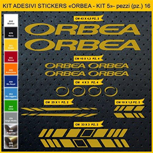 Adesivi Bici ORBEA - Kit 5- Kit Adesivi Stickers 16 Pezzi -Scegli SUBITO Colore- Bike Cycle pegatina cod.0934 (091 Oro)