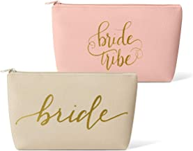 Bridal Party + Bride Makeup Bags – Leather Cosmetic Bags for Bachelorette Parties, Weddings, Bridal Showers (11 Piece Set, Pink Blush - Bride Tribe)