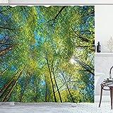 ABAKUHAUS Wald Duschvorhang, Willow Flora in der Natur, aus Stoff inkl.12 Haken Digitaldruck Farbfest Langhaltig Bakterie Resistent, 175 x 200 cm, Grün
