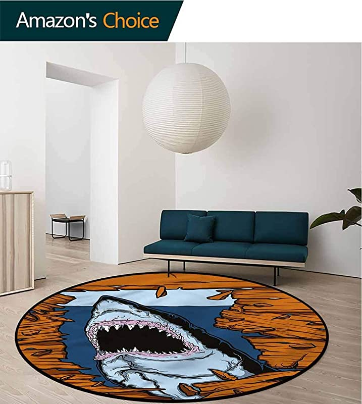 RUGSMAT Shark Round Area Rug Wild Fish Wooden Plank Protect Floors While Securing Rug Making Vacuuming Diameter 71
