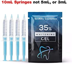 Four 10mL Syringes SenAllis Cosmetics Teeth Whitening Gel, 40mL 35% Gel Syringes, Fast & More Effective Than Teeth Whitening Strips, Refills Gel Compatible With Hi Smile Teeth Whitening Kit