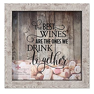 Lawrence Frames Weathered Birch Shadow Box Wine Cork Holder, 10x10, Brown