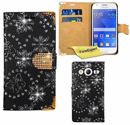 Samsung Galaxy Ace 4 Hülle, FoneExpert® Bling Luxus Diamant Hülle Wallet Hülle Cover Hüllen Etui Ledertasche Premium Lederhülle Schutzhülle für Samsung Galaxy Ace 4 SM-G357 + Bildschirmschutzfolie (Schwarz)
