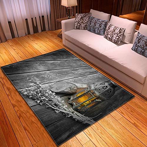 WKLFD Alfombras de Dormitorio Alfombra Salon Lámpara sobre Tablero de Madera Felpudo de Entrada Alfombrilla Antideslizante para Interior Exterior Patio Cocina Pasillo. 120 x 170 cm