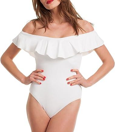 b56e9d5b2c0e Subtle Flavor Women's Sexy Off Shoulder Ruffle One-Piece Swimsuit Monokini  Bikini Bathing Suit