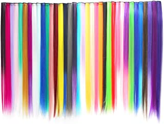 Wobe 36Pcs Colored Clip in Hair Extensions 21inches Multi-colors Party Highlights Straight Long Hairpiece Colorful Clip in Synthetic Hair Extensions for Women and Kids Streak Hairpieces (36 Colors)