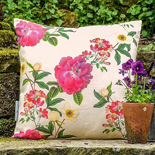 Waterdicht ontwerp tuin outdoor kussen - Floral Glade - tuinbank collectie - design bedrukt & handgemaakt in Groot-Brittannië Set of 4, 50 x 50 cm Cushions Crème