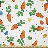 ABAKUHAUS Ostern Stoff als Meterware, Orange Karotten Eier
