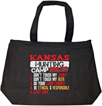 Funny Kansas Rules For Hunting Camp Bow Hunters That Love Beer - Fashion Zip Tote Bag