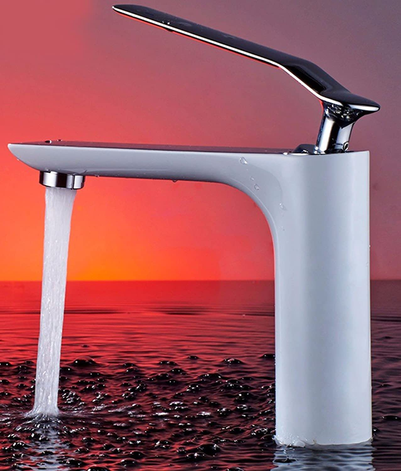 LHbox Basin Mixer Tap Bathroom Sink Faucet The bathroom is in white color, paint, basin, Single Hole, cold water faucet, 9