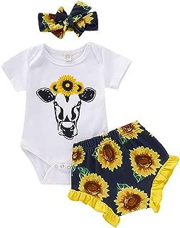 SUPEYA Baby Girls Sunflower Outfits Short Sleeve Tops Floral Pants Headband 3Pcs Set