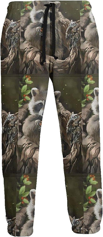 KAWAHATA Raccoon Men's Pants with Pockets Tapered Athletic Sweatpants 3D Casual Active Sports Pants