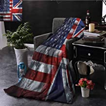 Homrkey Union Jack Fleece Throw Blanket Double-Sided Printing Alliance UK and USA Bed Sleeping Travel Pets Reading W54 xL72