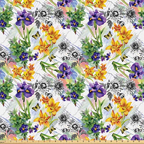 Lunarable Floral Fabric by The Yard, Iris Flowers in Watercolors Spring Theme Pattern Romantic Sketchy Botanical Artwork, Microfiber Fabric for Arts and Crafts Textiles & Decor, 1 Yard, Green
