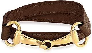 cbc8d22f275 Bling Jewelry Genuine Leather Horse Bit Cow Equestrian Wrap Bracelet for  Women for Teens Gold Plated