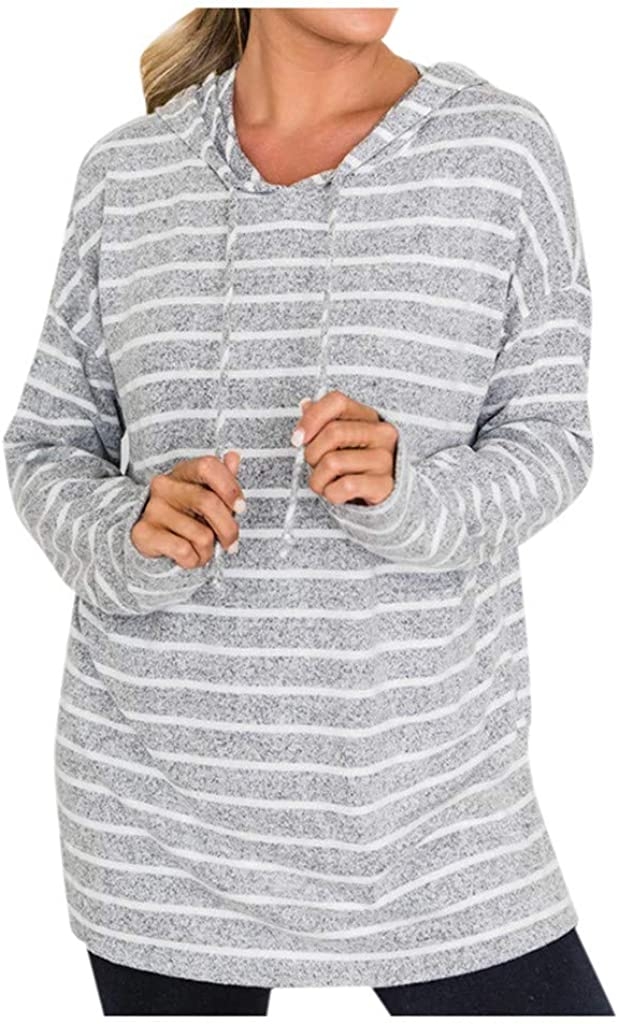 Forwelly Women Stripe Print Pullover Sweatshirt Hooded Casual Long Sleeve Hoodies Tunic Top