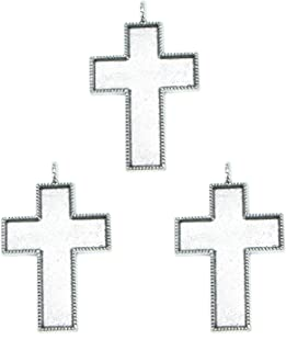 Monrocco 6Pcs Big Cross Pendant Setting Cabochon Cameo Base Tray Bezel Blank Fit Resin Cabochons Jewelry Making Findings, Antique Silver Plated
