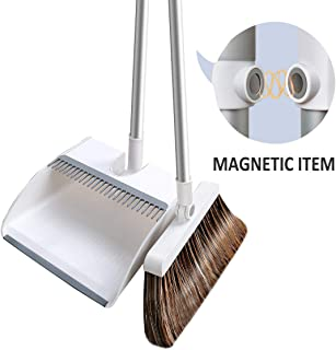 Lonffery Broom and Dustpan Set, Magnetic Suction Upright Stand Up Sweep Set for Home Kitchen Room Office Lobby Floor Use