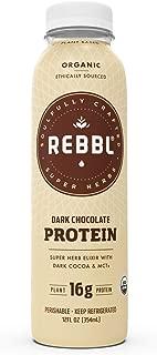 REBBL Super Herb Protein Elixirs | Dark Chocolate Protein 12 Pack | 16g Plant Protein | 12 Fl Oz | Gluten Free, Organic, Non GMO, Vegan | Ashwagandha, Maca, Reishi, Coconut MCTs