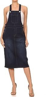 GoModest Women's Midi Length Casual Denim Jean Overall Dress Pockets, Plus Size
