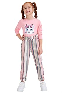 DeFacto Cotton Striped Straight-Fit Drawstring Elastic Waist Sweatpants for Girls