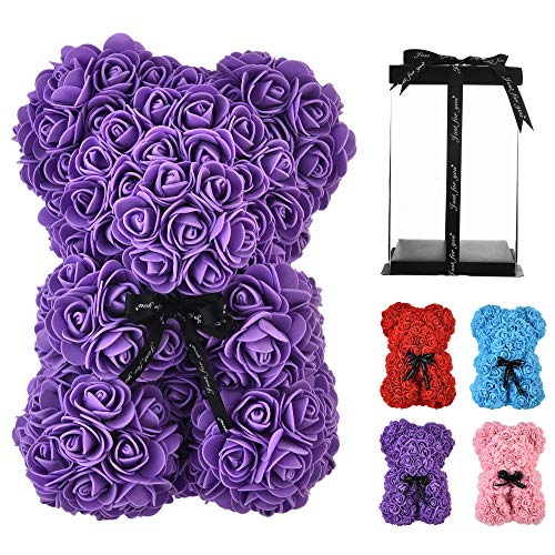 Rose Flower Bear -10 Inches Tall -Over 250+ Flowers Rose Teddy Bear - Anniversary's, Birthdays, Bridal Showers,Valentine's Day,Mothers - Clear Gift Box Included (Purple, 10in)
