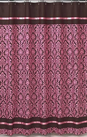 Fancy Victorian pink damask shower curtain